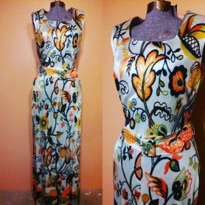 Vintage psychedelic mod 60s leaf print maxi dress